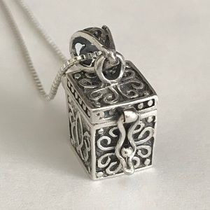 "Jewelry - ""Treasure"" Box Locket Pendant, Sterling Silver"